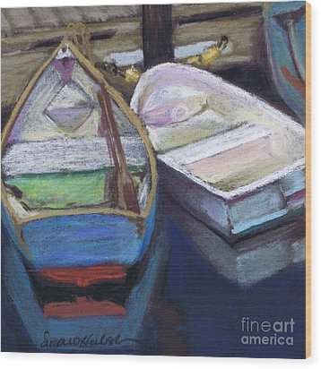 Two Boats Bernard Wood Print by Susan Herbst