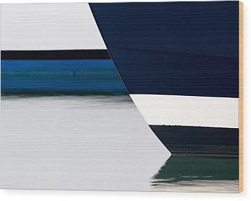 Two Boats Moored Wood Print by CJ Middendorf