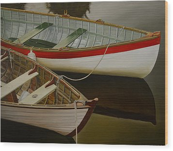 Wood Print featuring the painting Two Boats by Thu Nguyen