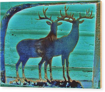 Two Bucks Wood Print by Larry Campbell