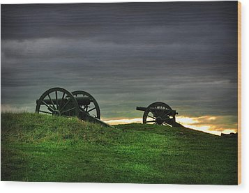 Two Cannons At Gettysburg Wood Print by Bill Cannon
