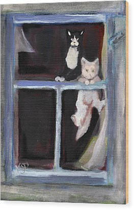 Two Cats Find An Old Window Sill Wood Print by Kemberly Duckett