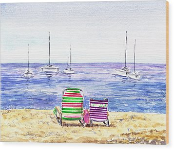 Two Chairs On The Beach Wood Print by Irina Sztukowski