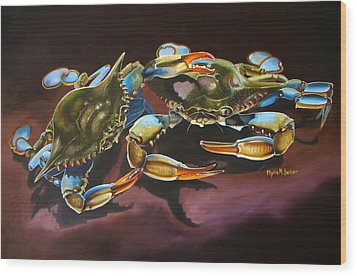 Two Crabs Wood Print by Phyllis Beiser
