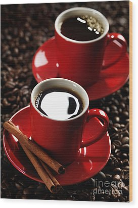 Two Cups Of Coffe On Coffee Beans Wood Print by Oleksiy Maksymenko