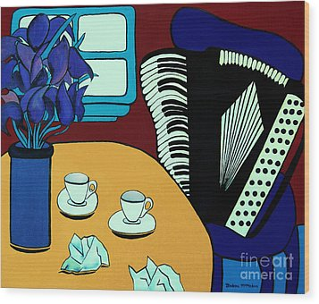 Two Cups One Accordian Wood Print by Barbara McMahon