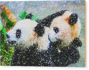 Wood Print featuring the digital art Two Cute Panda by Lanjee Chee