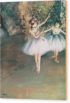 Two Dancers On A Stage Wood Print by Edgar Degas