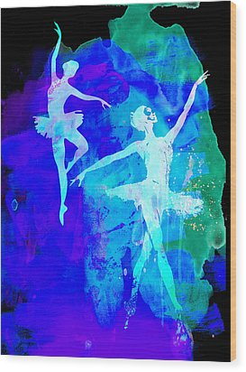 Two Dancing Ballerinas  Wood Print by Naxart Studio