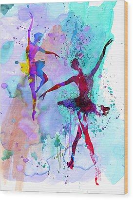 Two Dancing Ballerinas Watercolor 2 Wood Print by Naxart Studio