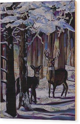 Two Deer In Snow In Woods Wood Print