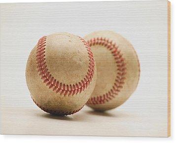 Two Dirty Baseballs Wood Print by Darren Greenwood