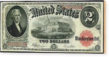 Two Dollar 1917 United States Note Fr60 Wood Print by Lanjee Chee