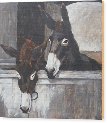 Two Donkeys Wood Print by Anke Classen