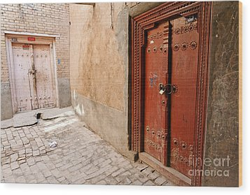 Two Doors In The Old Town Of Kashgar Wood Print by Robert Preston