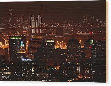 Two Downtowns Wood Print by Michael Courtney