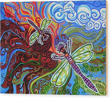 Two Dragonflies Wood Print