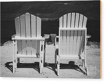Two Empty Sun Loungers On Private Beach Islamorada Florida Keys Usa Wood Print by Joe Fox