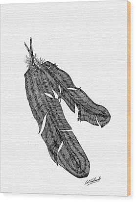Two-feathers Wood Print by Lee Halbrook