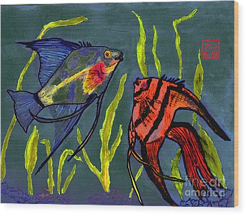 Two Fish  Chinese Watercolor Painting Wood Print by Merton Allen