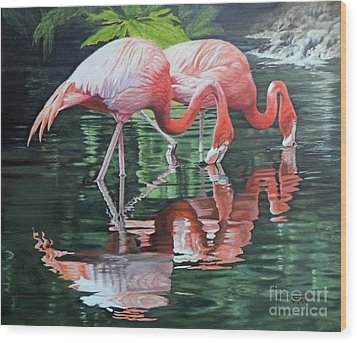 Two Flamingos Wood Print by Jimmie Bartlett