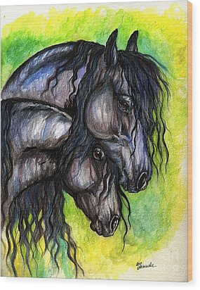 Two Fresian Horses Wood Print by Angel  Tarantella