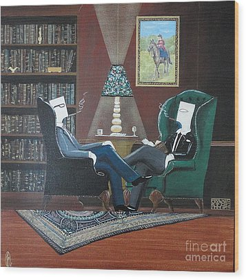 Two Gentlemen Sitting In Wingback Chairs At Private Club Wood Print by John Lyes