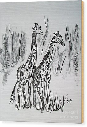 Wood Print featuring the drawing Two Giraffe's In Graphite by Janice Rae Pariza
