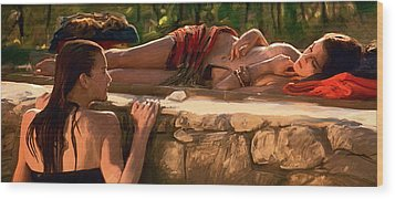 Two Girls By The Pool Wood Print by Dominique Amendola