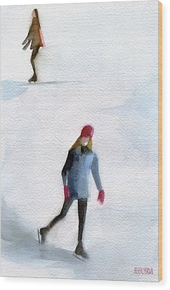 Two Girls Ice Skating Watercolor Painting Wood Print by Beverly Brown
