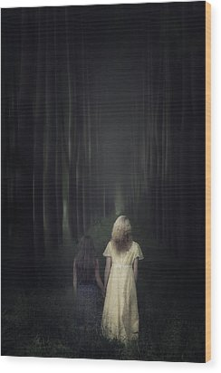 Two Girls In A Forest Wood Print by Joana Kruse