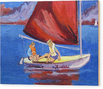 Wood Print featuring the painting Two Girls Set To Sail With Red Sail by Betty Pieper