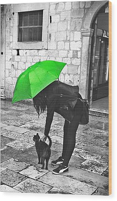 Two Girls Under Umbrella Wood Print