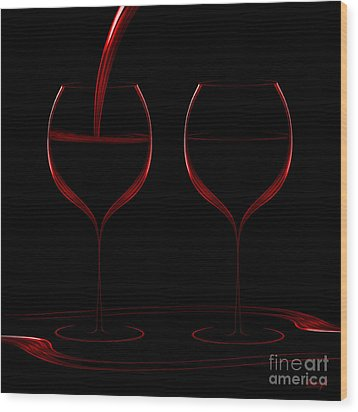 Two Glass Red Wood Print by Johnny Hildingsson