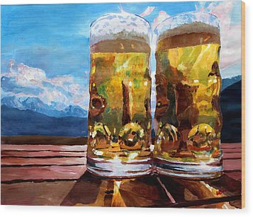 Two Glasses Of Beer With Mountains Wood Print by M Bleichner