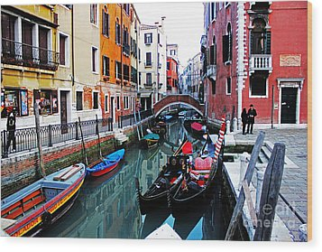 Two Gondolas Wood Print