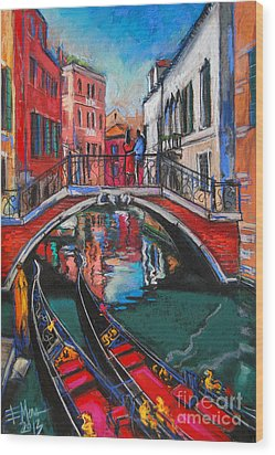 Two Gondolas In Venice Wood Print