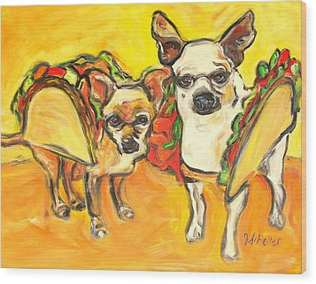 Two Good Tacos Wood Print by Jodie  Scheller