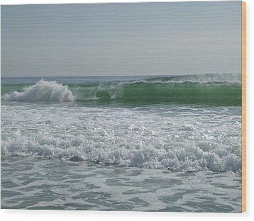 Two Green Waves Wood Print