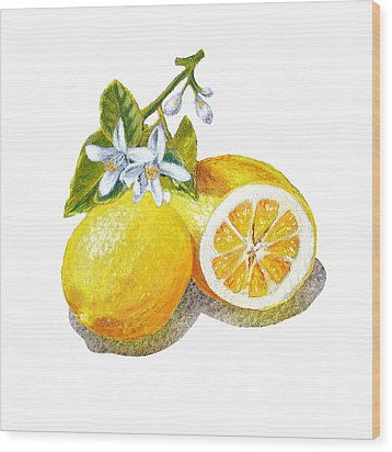 Wood Print featuring the painting Two Happy Lemons by Irina Sztukowski