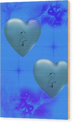 Wood Print featuring the digital art Two Hearts Together On Valentine's Day  by Angel Jesus De la Fuente
