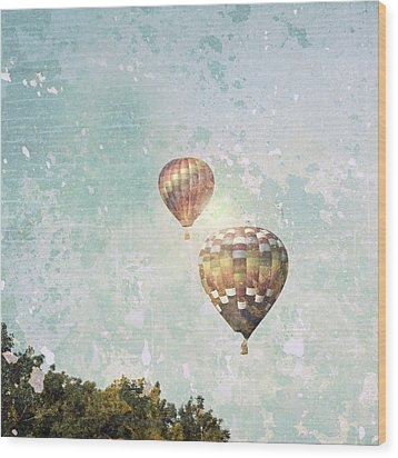 Wood Print featuring the photograph Two Hot Air Balloons by Brooke T Ryan