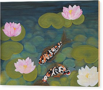 Two Koi Fish And Lotus Flowers Wood Print