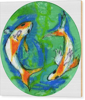 Two Koi Fish Wood Print by Genevieve Esson
