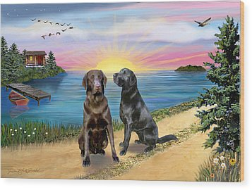 Two Labs At The Lake Wood Print by Jean B Fitzgerald