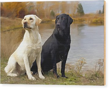 Two Labs Wood Print