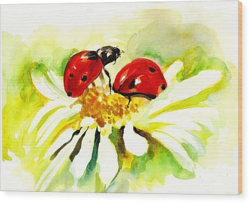 Two Ladybugs In Daisy After My Original Watercolor Wood Print