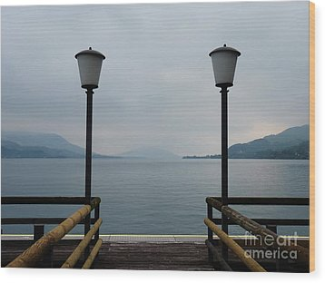 Wood Print featuring the photograph Two Lanterns At The Jetty Pier Of Lake Attersee by Menega Sabidussi