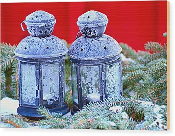 Two Lanterns Frozty Wood Print by Tommytechno Sweden