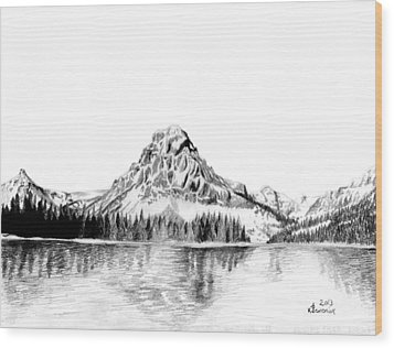 Two Medicine Mountain Wood Print by Kayleigh Semeniuk